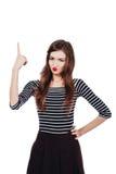 Συναισθηματικός καλλιτέχνης κοριτσιών πορτρέτου χαριτωμένος όμορφος Ανασκόπηση, που απομονώνεται άσπρη Κόκκινα χείλια, μακρυμάλλε Στοκ εικόνες με δικαίωμα ελεύθερης χρήσης