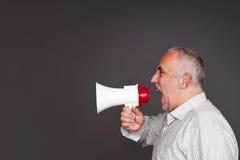 Συναισθηματικός προϊστάμενος με megaphone Στοκ φωτογραφίες με δικαίωμα ελεύθερης χρήσης
