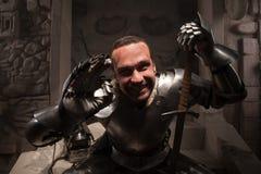 Συναισθηματικό πορτρέτο του μεσαιωνικού ιππότη Στοκ φωτογραφία με δικαίωμα ελεύθερης χρήσης