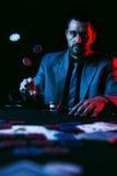 Συναισθηματικό υψηλό πόκερ πασσάλων player Στοκ εικόνα με δικαίωμα ελεύθερης χρήσης