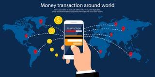 Συναλλαγή χρημάτων σε όλο τον κόσμο, την επιχείρηση, τις κινητές τραπεζικές εργασίες και την κινητή πληρωμή επίσης corel σύρετε τ διανυσματική απεικόνιση