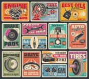 Συναρμολόγηση ροδών αυτοκινήτων και διαγνωστική υπηρεσία μηχανών ελεύθερη απεικόνιση δικαιώματος