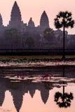 Συναρπαστική ανατολή στο antient παλαιό ναό Angkor Wat, Καμπότζη Στοκ Φωτογραφίες