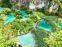 Συναρπαστική σκηνή της λίμνης Plitvice, εθνικό πάρκο της Κροατίας Απαριθμημένος στη παγκόσμια κληρονομιά της ΟΥΝΕΣΚΟ Στοκ Εικόνες