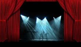 Συναυλία με τη σκηνή με τις κόκκινες κουρτίνες Στοκ Εικόνα