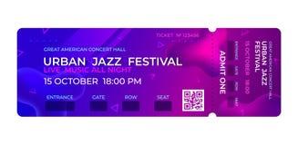 Εισιτήριο κινηματογράφων Συναυλία μουσικής, σχέδιο εισιτηρίων εισόδων γεγονότος κομμάτων Διανυσματικό πρότυπο πρόσκλησης ελεύθερη απεικόνιση δικαιώματος