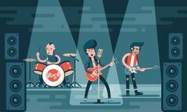 Συναυλία της ορχήστρας ροκ στη σκηνή διανυσματική απεικόνιση