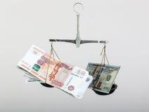 Συναλλαγματική ισοτιμία στις κλίμακες Στοκ φωτογραφίες με δικαίωμα ελεύθερης χρήσης
