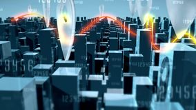 Συνδέσεις εικονικής παράστασης πόλης και δικτύων με τις ελαφριές ακτίνες απεικόνιση αποθεμάτων