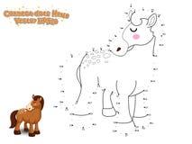 Συνδέστε τα σημεία και σύρετε το χαριτωμένο άλογο κινούμενων σχεδίων Εκπαιδευτικό παιχνίδι φ απεικόνιση αποθεμάτων