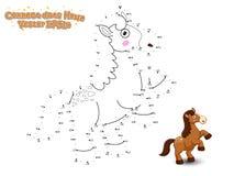 Συνδέστε τα σημεία και σύρετε το χαριτωμένο άλογο κινούμενων σχεδίων Εκπαιδευτικό παιχνίδι φ ελεύθερη απεικόνιση δικαιώματος