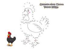 Συνδέστε τα σημεία και σύρετε το χαριτωμένο κοτόπουλο κινούμενων σχεδίων Εκπαιδευτικό παιχνίδι διανυσματική απεικόνιση