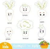 Συνδέστε τα σημεία, παιχνίδι για τα παιδιά Σύνολο λαχανικών κινούμενων σχεδίων διανυσματική απεικόνιση