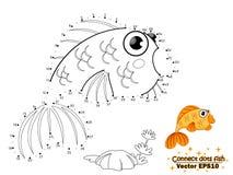 Συνδέστε τα σημεία σύρει τα χαριτωμένα ψάρια και το χρώμα κινούμενων σχεδίων Εκπαίδευση απεικόνιση αποθεμάτων