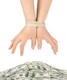 συνδεδεμένα χρήματα χεριώ στοκ φωτογραφίες