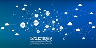 Συνδεδεμένη σημείο γραμμή πολυγώνων έννοιας δικτύων υπολογισμού σύννεφων Έννοια της αποθήκευσης και των στοιχείων κεντρικών υπολο στοκ φωτογραφία με δικαίωμα ελεύθερης χρήσης