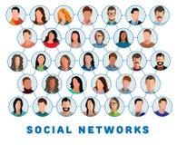 Συνδεδεμένοι άνθρωποι και κοινωνικό δίκτυο απεικόνιση αποθεμάτων