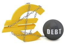 συνδεδεμένο αλυσίδα ευρο- σημάδι χρέους Στοκ Εικόνα