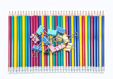 Συνδετήρες και μολύβια εγγράφου Στοκ Εικόνες
