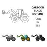 Συνδυάστε με τα μακριά υδραυλικά πόδια να συλλάβετε το σανό Ενιαίο εικονίδιο γεωργικών μηχανημάτων στο διανυσματικό σύμβολο ύφους απεικόνιση αποθεμάτων