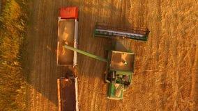 Συνδυάστε ξεφορτώνει το σιτάρι στο φορτηγό στοκ φωτογραφία