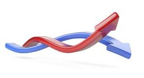 Συνδυασμένα κόκκινα και μπλε βέλη ελεύθερη απεικόνιση δικαιώματος