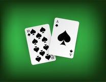 Συνδυασμός είκοσι ενός σημείων blackjack στο πράσινο υπόβαθρο χαρτοπαικτικών λεσχών Διανυσματική απεικόνιση παιχνιδιού Στοκ φωτογραφία με δικαίωμα ελεύθερης χρήσης