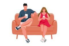 Συνεδρίαση ατόμων και κοριτσιών στον καναπέ διανυσματική απεικόνιση