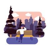 Συνεδρίαση ατόμων στην πόλη πάρκων πάγκων υπαίθρια διανυσματική απεικόνιση