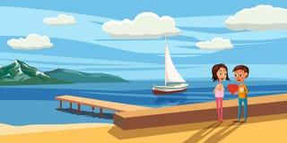 Συνεδρίαση ζεύγους στις καρέκλες γεφυρών στη θάλασσα Άποψη από την πλάτη - έννοια αγάπης ή διακοπών επίσης corel σύρετε το διάνυσ Στοκ Φωτογραφία