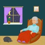 Συνεδρίαση ηλικιωμένων γυναικών σε μια λικνίζοντας καρέκλα σε ένα δωμάτιο τη νύχτα ελεύθερη απεικόνιση δικαιώματος