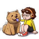 Συνεδρίαση κοριτσιών με ένα chow chow σκυλί - απομονωμένη έκδοση Στοκ Εικόνες