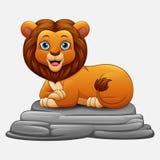 Συνεδρίαση λιονταριών κινούμενων σχεδίων στο βράχο Στοκ εικόνα με δικαίωμα ελεύθερης χρήσης