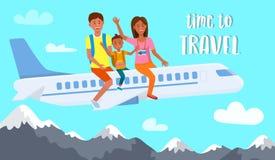 Συνεδρίαση μητέρων, πατέρων και γιων στο έμβλημα αεροπλάνων ελεύθερη απεικόνιση δικαιώματος