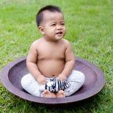 Συνεδρίαση μωρών στο μεγάλο ξύλινο πιάτο στοκ φωτογραφία με δικαίωμα ελεύθερης χρήσης