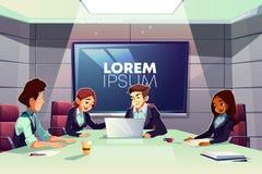 Συνεδρίαση των επιχειρησιακών ομάδων στο διάνυσμα αίθουσας συνδιαλέξεων διανυσματική απεικόνιση