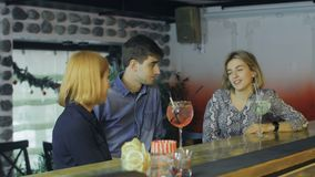 Συνεδρίαση των φίλων για τα ποτά βραδιού στο φραγμό κοκτέιλ φιλμ μικρού μήκους