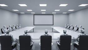 Συνεδρίαση Cyborgs σε μια σειρά Στοκ Φωτογραφία