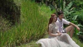 Συνεδρίαση Newlyweds και τοποθέτηση στο πεζούλι ρυζιού στο Μπαλί Χέρια εκμετάλλευσης, αγκάλιασμα ρομαντικός γάμος φιλμ μικρού μήκους