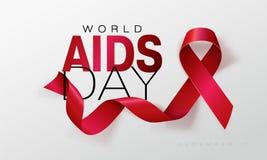 Συνειδητοποίηση ενισχύσεων Έννοια Παγκόσμιας Ημέρας κατά του AIDS κόκκινη κορδέλλα Διανυσματική απεικόνιση EPS10 απεικόνιση αποθεμάτων