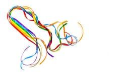Συνειδητοποίηση κορδελλών χρώματος ουράνιων τόξων, συμβολικό εικονίδιο λογότυπων χρώματος για τα ίσα δικαιώματα ερωτευμένα και κο στοκ εικόνα με δικαίωμα ελεύθερης χρήσης