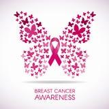 Συνειδητοποίηση καρκίνου του μαστού με το σημάδι πεταλούδων και τη ρόδινη διανυσματική απεικόνιση κορδελλών Στοκ Εικόνες