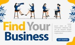 Συνεντεύξεις εργασίας για τις επιχειρήσεις, τις επιχειρήσεις και τις υπηρεσίες με τις λέξεις βρείτε την επιχείρησή σας, διανυσματ διανυσματική απεικόνιση