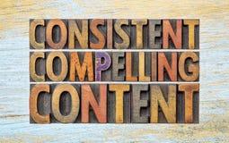 Συνεπής, αναγκάζοντας ικανοποιημένη περίληψη λέξης στοκ εικόνα