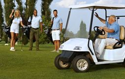 Συνεργάτες που συναντιούνται στο γήπεδο του γκολφ στοκ εικόνες με δικαίωμα ελεύθερης χρήσης