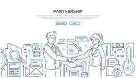 Συνεργασία - σύγχρονη απεικόνιση ύφους σχεδίου γραμμών ελεύθερη απεικόνιση δικαιώματος