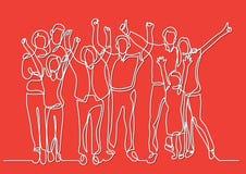 Συνεχές σχέδιο γραμμών της ευτυχούς μεγάλης οικογένειας ενθαρρυντικής διανυσματική απεικόνιση