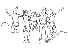 Συνεχές σχέδιο γραμμών της ευτυχούς ομάδας άλματος σπουδαστών απεικόνιση αποθεμάτων