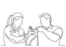 Συνεχές σχέδιο γραμμών του γιατρού που καθιστά τον εμβολιασμό πυροβοληθε'ντα στο άτομο ελεύθερη απεικόνιση δικαιώματος
