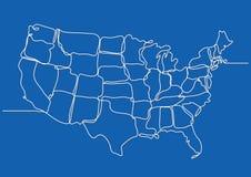 Συνεχές σχέδιο γραμμών των Ηνωμένων Πολιτειών της Αμερικής διανυσματική απεικόνιση